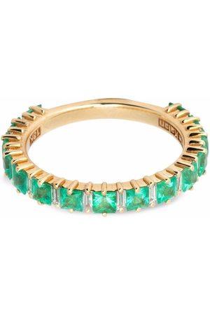 Suzanne Kalan 18kt yellow emerald and diamond band ring