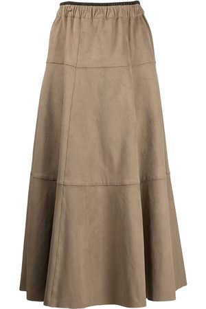 PROENZA SCHOULER WHITE LABEL Faux suede seamed skirt