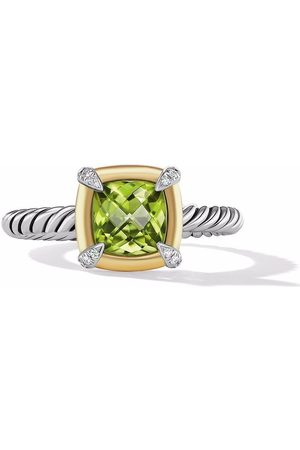 David Yurman 18kt yellow gold and sterling Châtelaine diamond and peridot ring