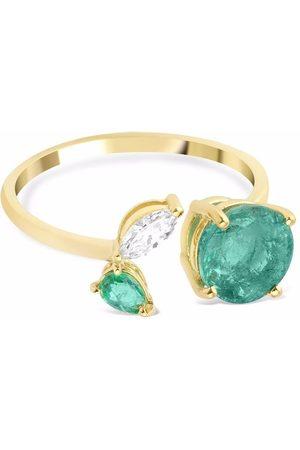 GFG Jewellery 18kt yellow Artisia emerald and diamond leaf ring