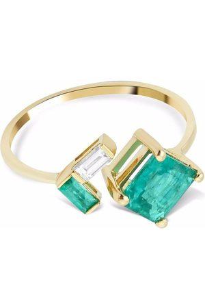 GFG Jewellery 18kt yellow Artisia emerald diamond open ring