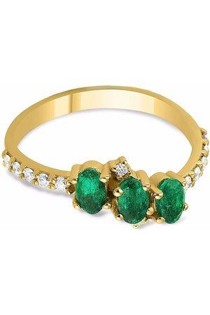 GFG Jewellery 18kt yellow Seraphine trio emerald diamond ring
