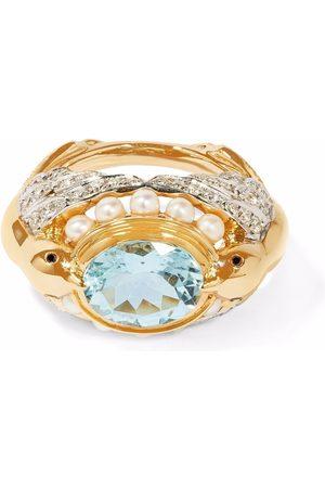ANNOUSHKA X Temperley London 18kt yellow Lovebirds aquamarine diamond ring