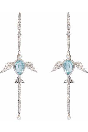 ANNOUSHKA X Temperley London 18kt white Lovebirds aquamarine diamond earrings