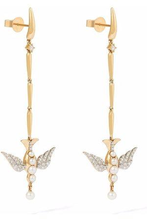 ANNOUSHKA X Temperley London 18kt yellow Lovebirds pearl diamond drop earrings
