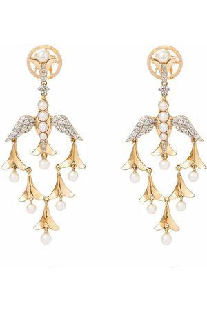 ANNOUSHKA X Temperley London 18kt yellow Lovebirds pearl and diamond drop earrings