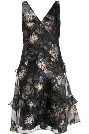 Marchesa Notte Floral-print tiered dress