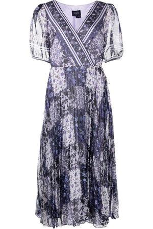 Marchesa Notte Patterned wrap dress