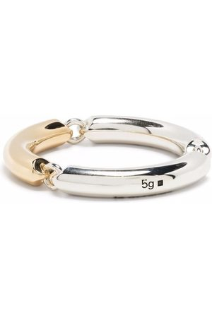 Le Gramme 5g polished sterling and 18kt yellow gold 3 link ring