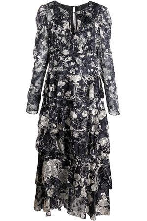 Marchesa Notte Floral-print tiered midi dress