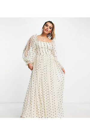 Lace & Beads Women Printed Dresses - Exclusive wrapped bodice maxi dress in cream polka dot print