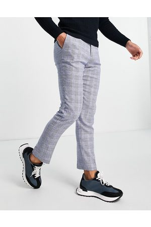 French Connection Slim fit checked suit trousers-Navy