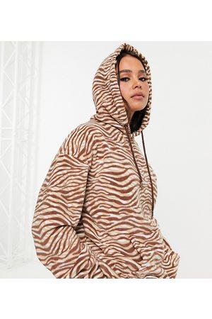 Native Youth Very oversized hoodie in chocolate zebra fleece