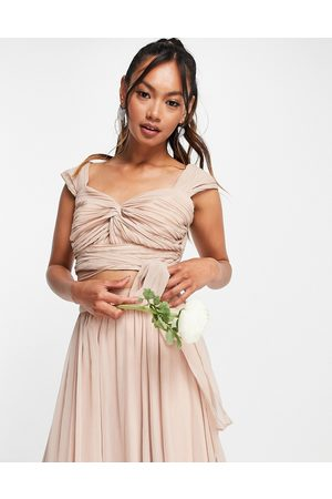 ASOS Women Sets - Bridesmaid ruched crop top with wrap detail co-ord in blush