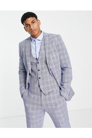 French Connection Slim fit checked suit jacket-Navy