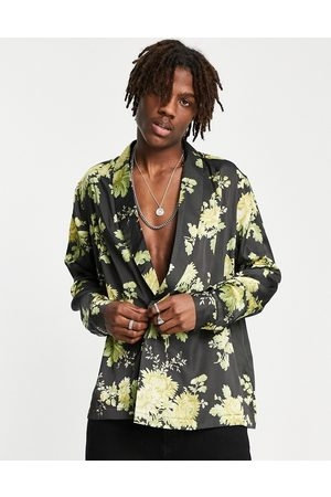 ASOS DESIGN Men Shirts - Satin shirt with double breasted front in floral print