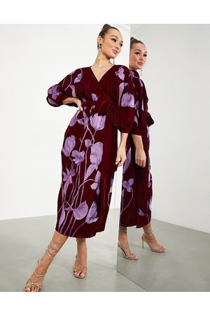 ASOS Women Printed Dresses - Midi wrap dress in velvet with floral embroidery in oxblood