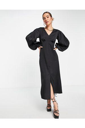 Closet Empire waist volume sleeve midi dress in