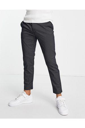 Topman Skinny stripe jogger trousers in navy