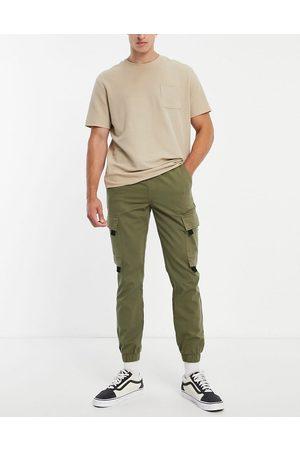 Topman Skinny cargo trousers with tab detail in khaki