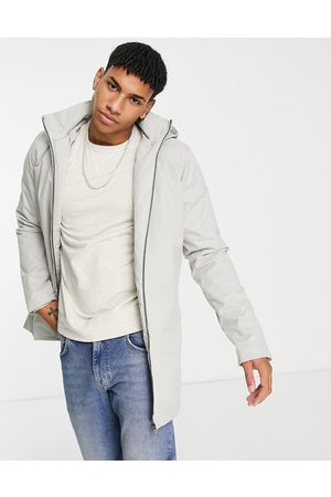 French Connection Funnel neck jacket with hood in stone-Neutral