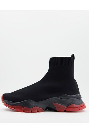 ASOS Men Sneakers - Knitted sock trainers in with red sole detail