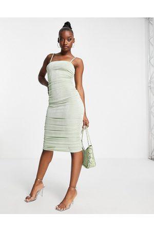 Fashionkilla Square neck midi bodycon dress in sage