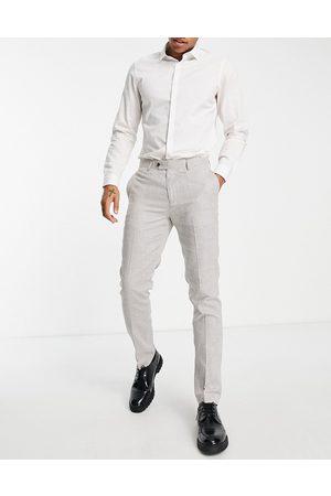 Gianni Feraud Men Skinny Pants - Dog tooth print slim fit suit trousers