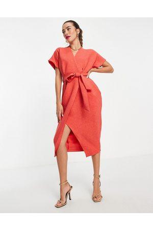 Closet Wrap tie midi dress in