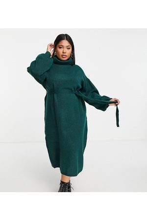 ASOS Women Casual Dresses - ASOS DESIGN Curve knitted roll neck midi dress with tie waist in dark