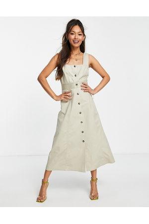 ASOS Women Casual Dresses - Twill square neck midi dress in -Neutral