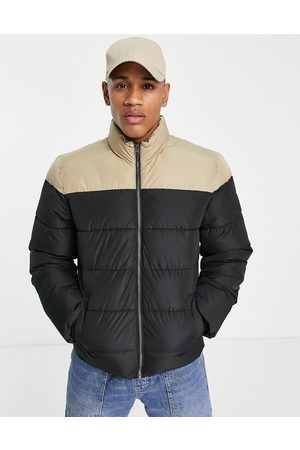 Only & Sons Colour block puffer jacket with stand collar in black and beige-Multi