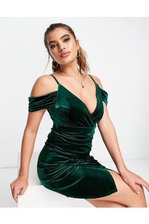 Jaded Rose Exclusive cold shoulder velvet mini dress in emerald