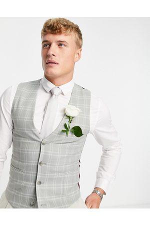 ASOS Wedding super skinny suit waistcoat with window pane check in