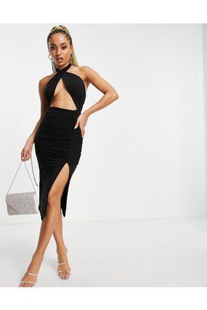 Public Desire 70's wrap midi dress with thigh split in