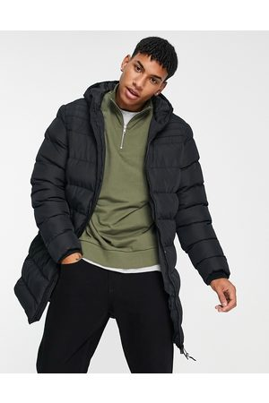 Threadbare Long line puffer jacket with hood in