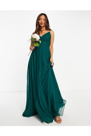 ASOS Women Maxi Dresses - Bridesmaid cami maxi dress with ruched bodice and tie waist