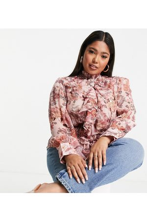River Island Floral print ruffle front blouse in
