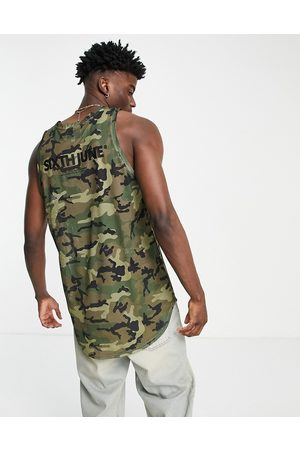 Sixth June Basketball vest in camo mesh with logo back print-Multi