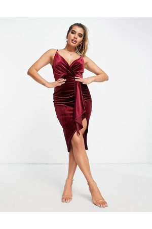 Jaded Rose Exclusive ruched velvet wrap dress in burgundy
