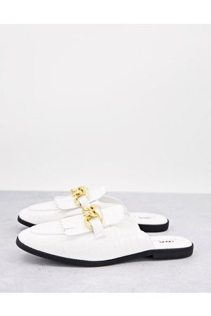 ASOS Chain detail mule loafer in faux croc