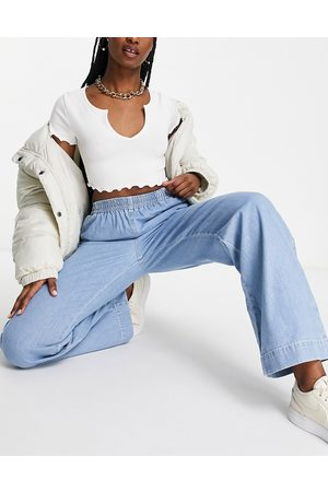 ASOS Pull on wide leg jeans in brightwash