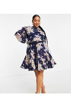 ASOS ASOS DESIGN Curve high neck pleated jacquard mini dress with godet detail in floral print and macrame belt-Multi