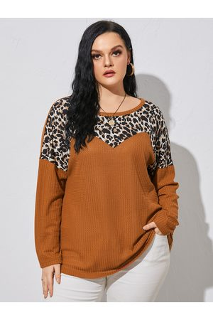YOINS Plus Size Round Neck Leopard Waffle Knit Patchwork Design Long Sleeves Knitwear