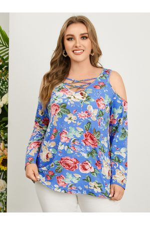 YOINS Plus Size Cold Shoulder Floral Print Criss-Cross Long Sleeves Tee