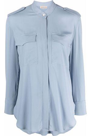 BLANCA Long-sleeve silk-blend shirt
