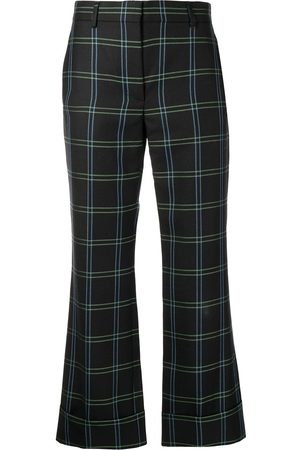 Rochas Check-print cropped flared trousers