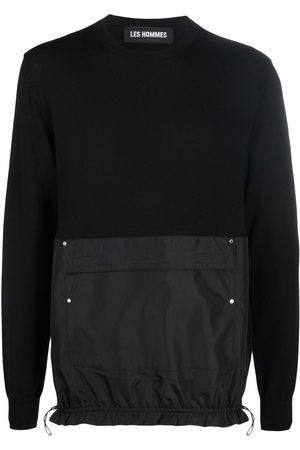 Les Hommes Contrasting front pocket wool jumper