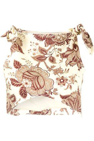SIR Floral-print linen cropped top