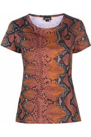 Roberto Cavalli Snakeskin-print cotton T-shirt